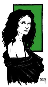 Drawn from a promotional photo of actress Eva Green