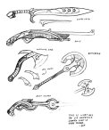 Weapon concept sketches for Irshaanic Confluence. Image (C) D3 Adventures 2014