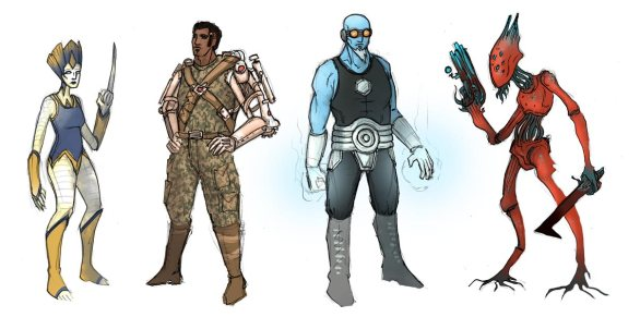 Character concept lineup for a scrapped project. (C) D3 Adventures 2015