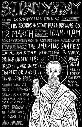 Event poster for the opening of a local brewery, with food and a bunch of local Syracuse, NY bands.